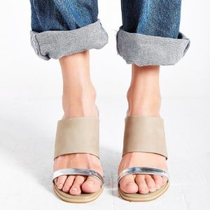 Seychelles Lyra Beige Suede and Silver Mules